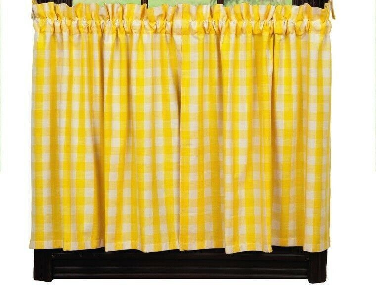 Primary image for country rustic cabin farmhouse kitchen PICNIC YELLOW & white plaid TIER curtains