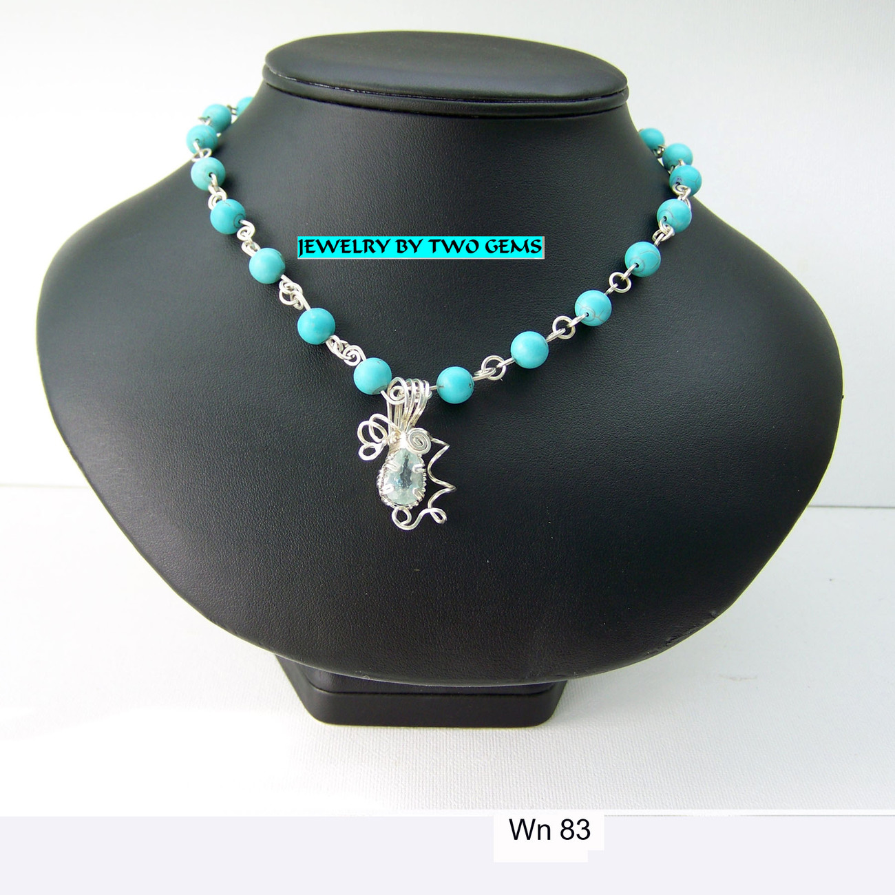 Jewelry By Two Gems (Wn83) Sterling Silver Faceted Aqua w Turquoise Necklace