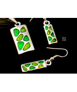 Green and Silver Rectangle Necklace Earring Set - $13.95