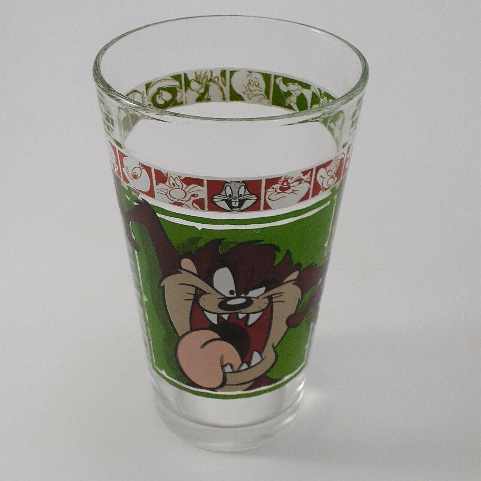 """1999 Warner Bros 5 3/4"""" Looney Tunes Tasmanian Devil Drinking Glass AS IS"""
