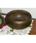 Antique Bear Claw Brass Bowl Planter Vintage Footed Dish Plant Holder - $29.99