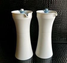 Tupperware Oil Vinegar Cruets White w Blue Push Button Tops 1246 Picnic ... - $29.95