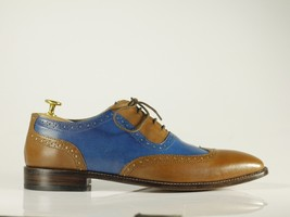 Handmade Brown & Blue Leather Wing Tip Dress/Formal Oxford Shoes image 3