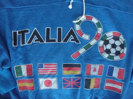 Vintage ITALY Soccer Futbol 1990 World Cup Blue Sweatshirt M / L - $46.47