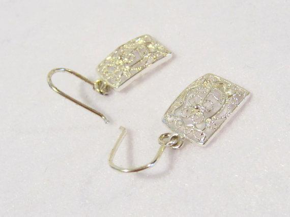 Sterling silver 925 Filigree Dangle earrings