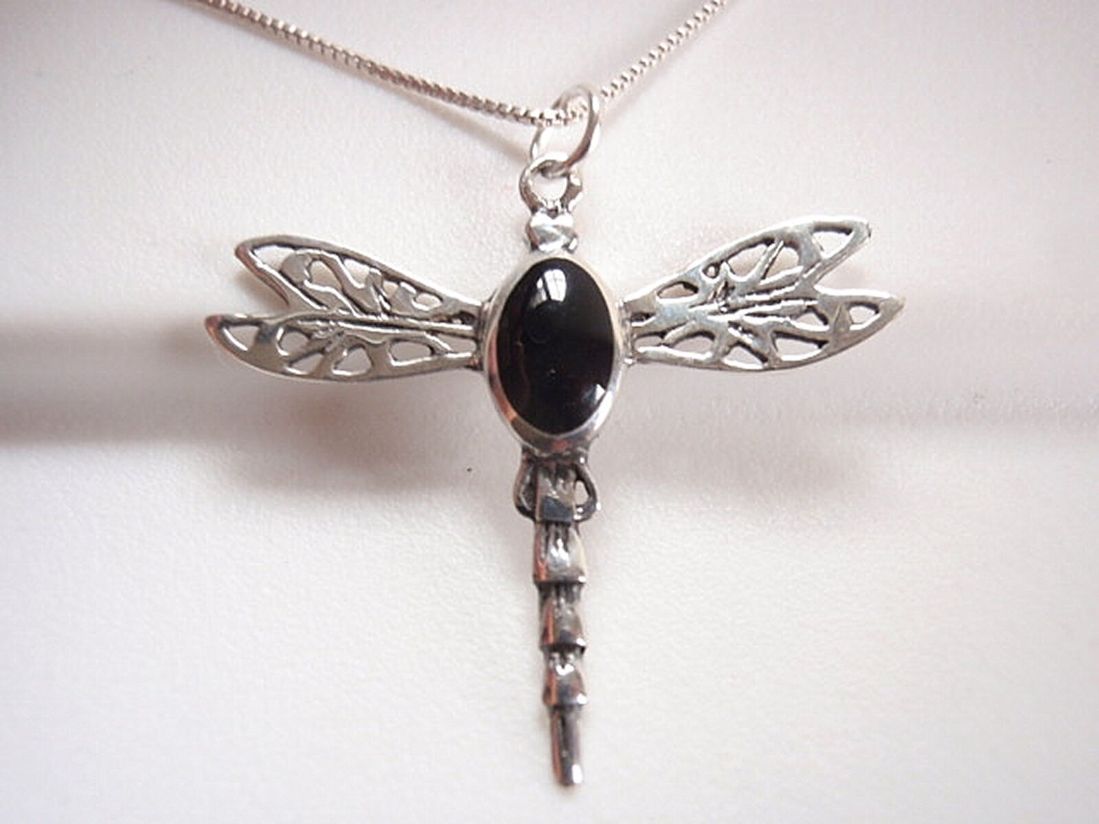Black Onyx Dragonfly Necklace 925 Sterling Silver Corona Sun Jewelry - $69.29