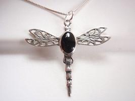 Black Onyx Dragonfly Necklace 925 Sterling Silver Corona Sun Jewelry - $69.29
