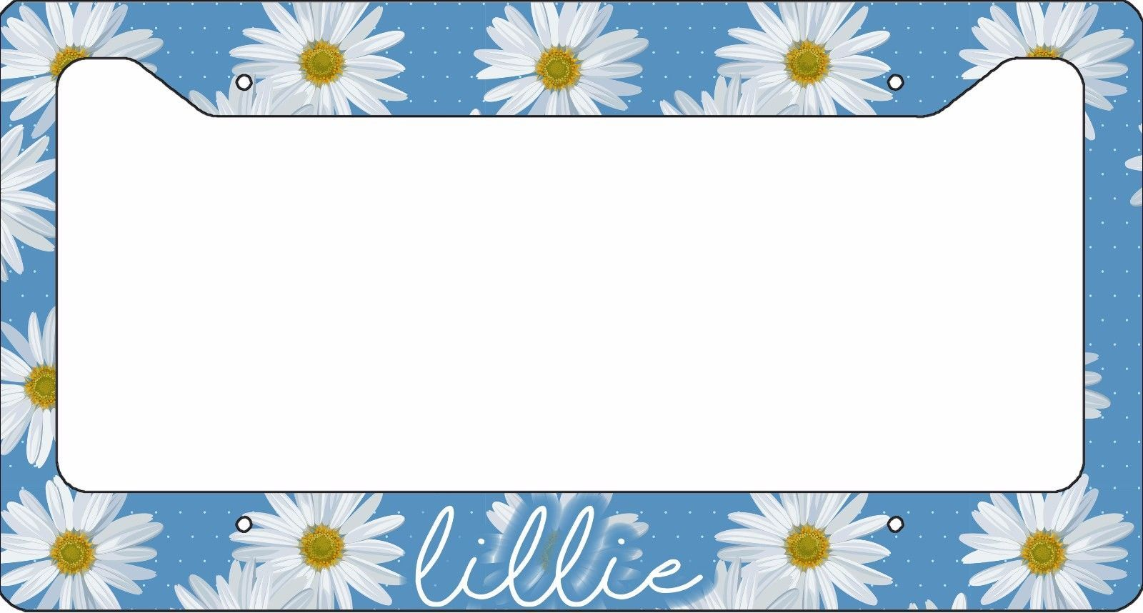 PERSONALIZED LICENSE PLATE FRAME CUSTOM CAR TAG BLUE WHITE DAISY FLOWERS