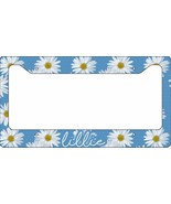 PERSONALIZED LICENSE PLATE FRAME CUSTOM CAR TAG BLUE WHITE DAISY FLOWERS - $13.70