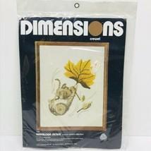 "Dimensions Crewel Windblown Mouse 1030 11"" x 14"" Vintage 1977 - $24.70"