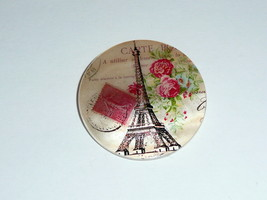 Eiffel Tower w/ Postage Stamp Paris France Mother of Pearl Shank Button ... - $11.39