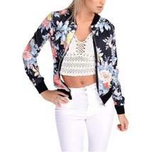Autumn Printed Stand Collar Slim Women Short Jackets - $34.43