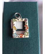 Sterling Silver 25x17mm White & Red Enamel says ABC123 Frame Charm - $21.28