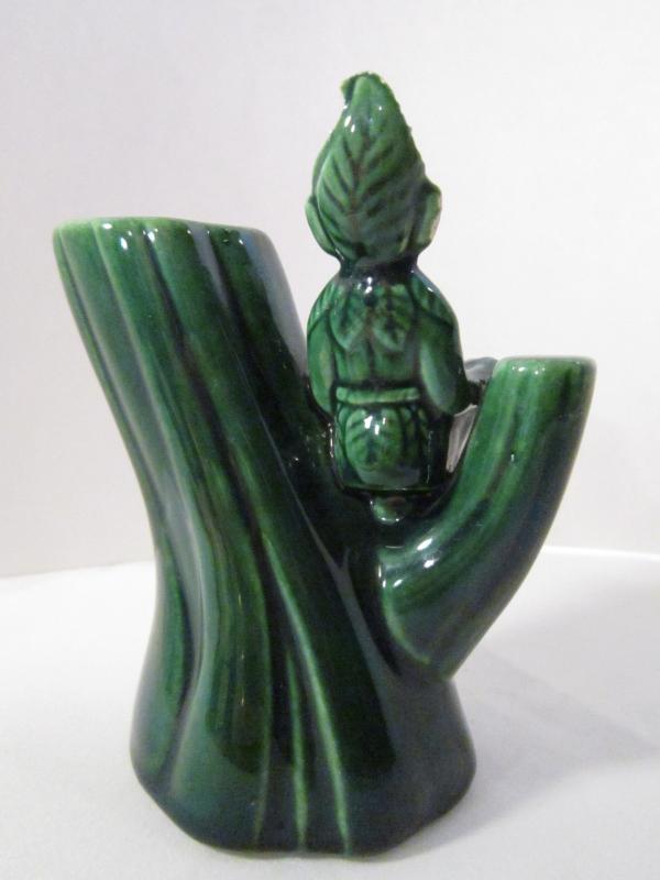 Tree Sitting Gilner Elf Vase, Vintage Forest Green Gilner Pixie Vase