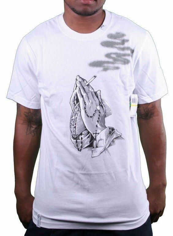 LRG Prayin Hands With Smoke and Taco Men's Graphic Tee NWT White Black