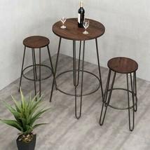 Bistro Set 3-Piece Table 2-Stool 120 lbs. Capacity Welded Bottom Ring Ir... - $133.00