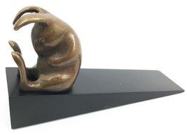 Brass Made Adorable Sleeping Bunny Rabbit Hare Door Stop Stopper Wedge H... - €25,96 EUR