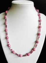 "19"" pink swarovski crystal and Czech artglass bead necklace - $49.00"