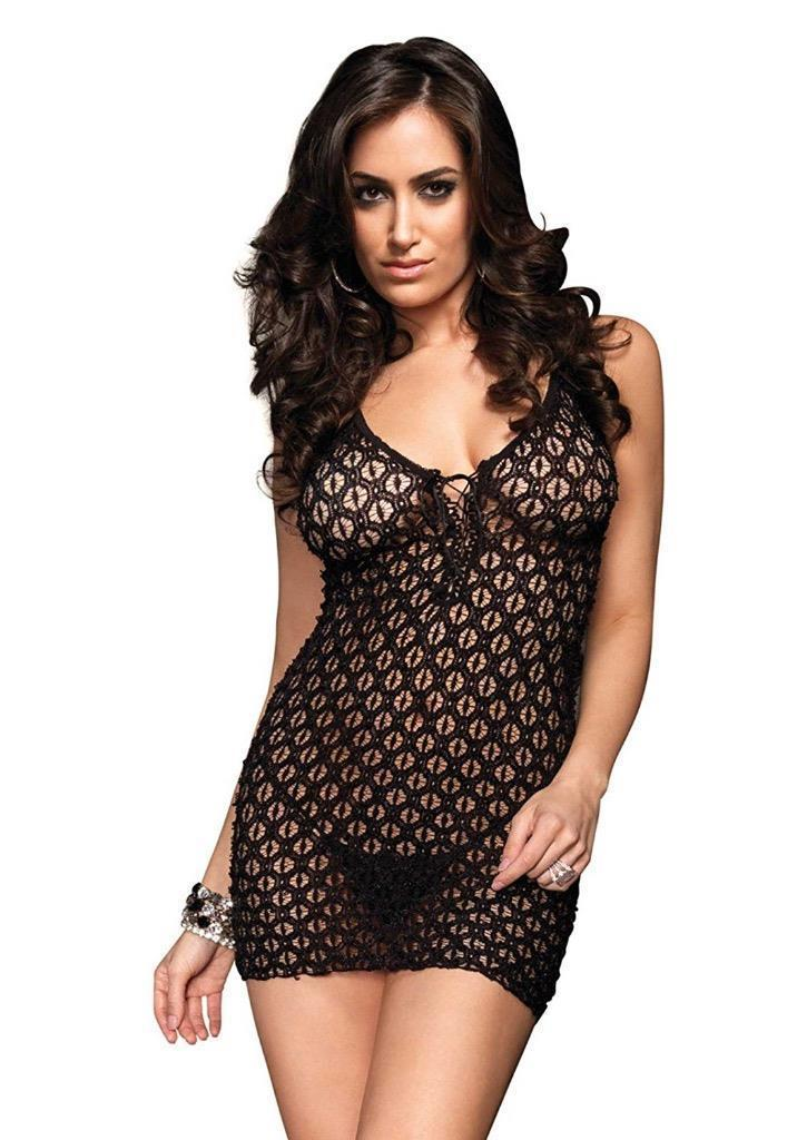 New Leg Avenue Women's Mini Dress with Lace Up Front and G-String One Size 8316