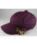 Women's Mauve Berry Cap Hat Retro Brass Heart Charms Pin Embellishment - $24.95