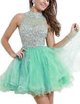 Women's Short Beading Prom Dress A Line High Neck Homecoming Dress Mint ... - $125.99