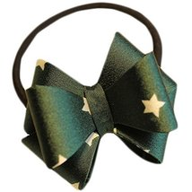 Fashion Hair Bands Bowknot Hair Rope Hair Accessories(Green Stars)