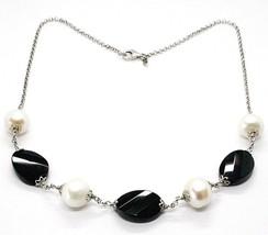 Collier Argent 925, Onyx Noir Ovale à Facettes, Perles, 44 cm, Chaîne Rolo image 1