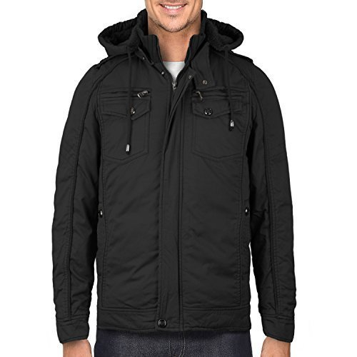 Maximos Men's Hooded Multi Pocket Sherpa Lined Sahara Bomber Jacket (Large, Blac