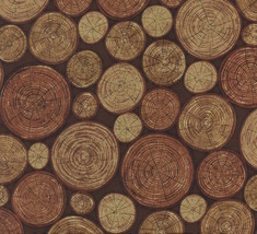 Hoffman Fabric Log Slices Woody Brown 100% cotton fabric by the yard - $12.73