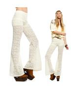 LACE PANTS beige ivory 70s vtg boho crochet hippie flare Bell MEDIUM - $39.00