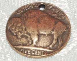 BUFFALO COIN FINE PEWTER PENDANT CHARM - 20mm L x 20mm W x 2mm D image 3