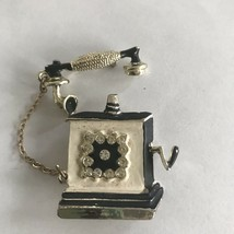 Vintage Enamel Old-Fashioned Style Telephone Brooch Pin J0592 - $9.49