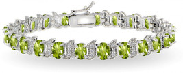 GemStar USA Sterling Silver Peridot 6x4mm Oval and S Tennis Bracelet wit... - $258.63