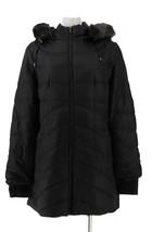 Isaac Mizrahi Quilted Puffer Coat Faux Fur Hood Grey XL NEW A296441 - $77.20