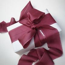 Silk ribbon, Eggplant, hand-dyed silk ribbon - $11.10+