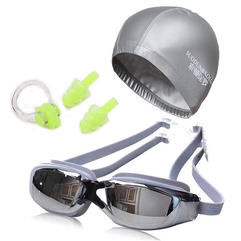 7a140df9ca1 Surfing Swimming Goggles Anti Fog UV Protection Glasses Cap Earplugs Nose  Clip