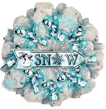 Snow Deco Mesh Wreath With Adorable Snowman Handmade Deco Mesh - $92.99