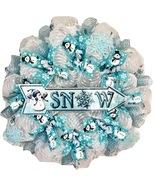 Snow Deco Mesh Wreath With Adorable Snowman Handmade Deco Mesh - $92.99