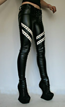 Women Skinny  Black And White Silver Studded Zipper Genuine Leather Wais... - $219.99+