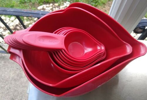 Primary image for Randy Kaas Pourfect Mixing Measuring Cups Bowls 9 Pc Set Red Cup ML Braille