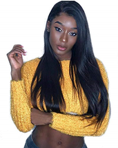 360 Lace Frontal Wig Peruvian Virgin Human Hair Straight Wigs 130% Densi... - $92.25
