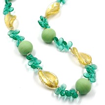NECKLACE PETALS DROPS, SATIN SPHERE SPIRAL WAVE GREEN YELLOW MURANO GLASS ITALY image 2