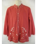 Foreign Look Red Tunic Women's Blouse Embroidered Size 16  - $39.59