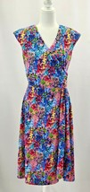 Talbots Outlet Womens S Floral Wrap A-Line Dress Stretch Bold Multicolor... - $44.50