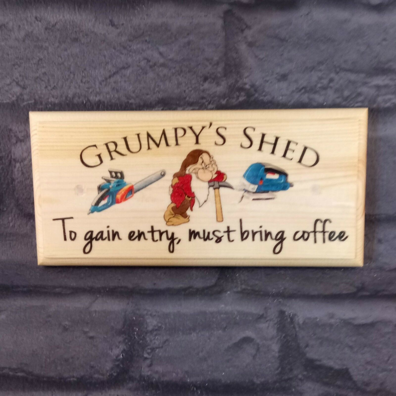 Primary image for Grumpys Shed Sign, Bring Coffee Dad Grandad Gift Plaque Workshop Fathers Day 498