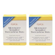 GiGi Sensitive Tweezeless Microwave Facial Hair Removal Wax, 1 oz x 2 pack