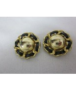 Erwin Pearl Leather Clip On Earrings Black Gold Tone - $44.54