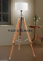 Classic Maritime Collectible Teak Wood Tripod Floor Lamp With Shade By Nauticalm - $177.21