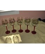5 Vintage St.Nicholas Square Red Stem Crystal Goblets Holly Berry NICE - $74.25