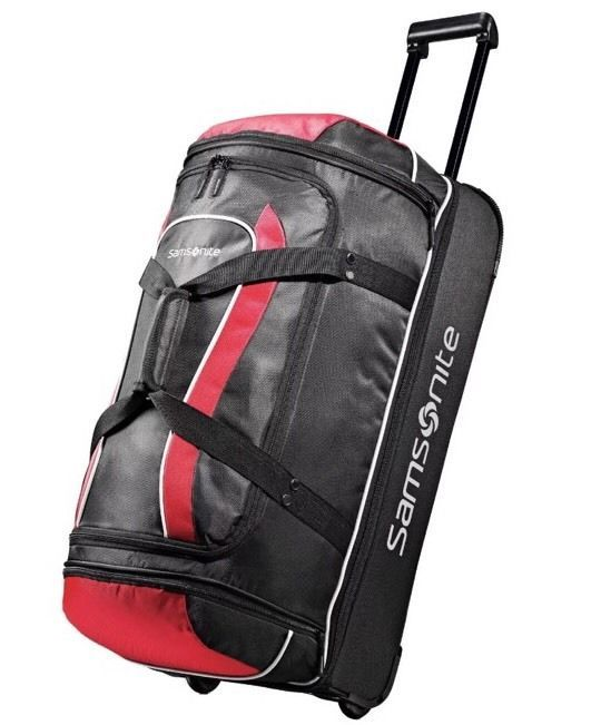 "Samsonite Andante Drop Bottom 28"" Wheeled Duffel Bag in Black-Red"